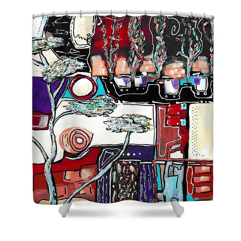 Abstract Shower Curtain featuring the painting Mill Avenue by Ronda Breen