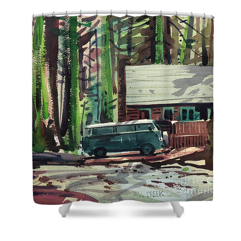 Mill Creek Shower Curtain featuring the painting Mill Creek Camp by Donald Maier