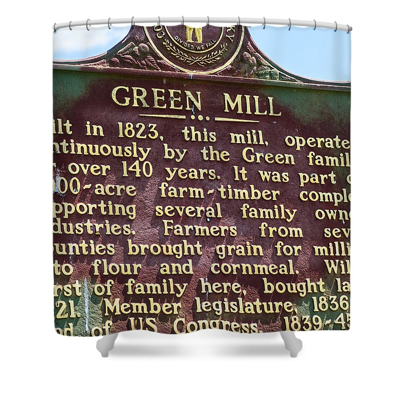 Green Family Shower Curtain featuring the photograph Mill Description by Charles Miller