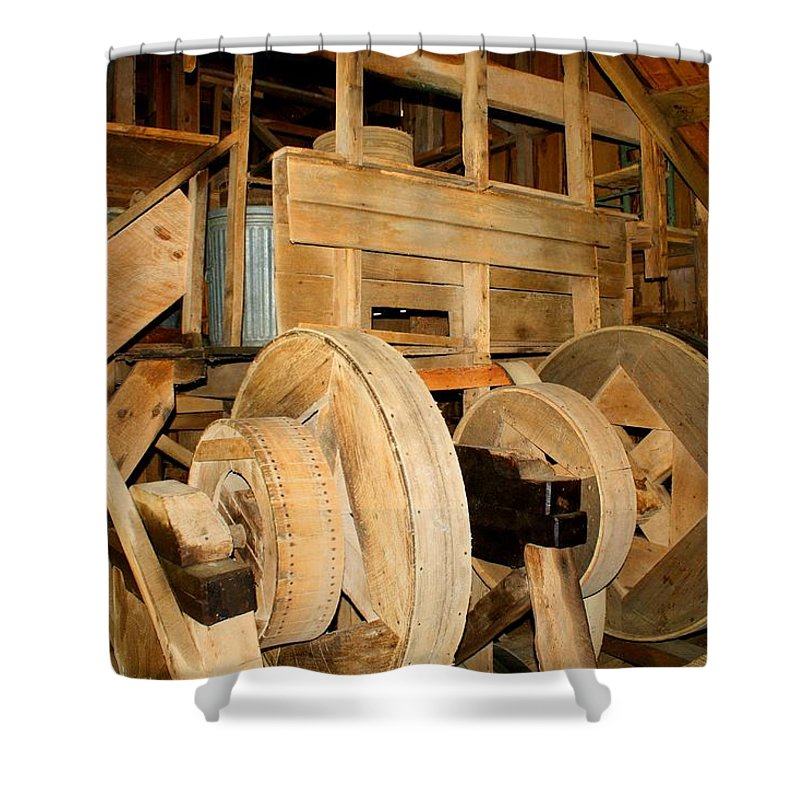 Mill Mechanism Shower Curtain featuring the photograph Mill Mechanism by Kathryn Meyer