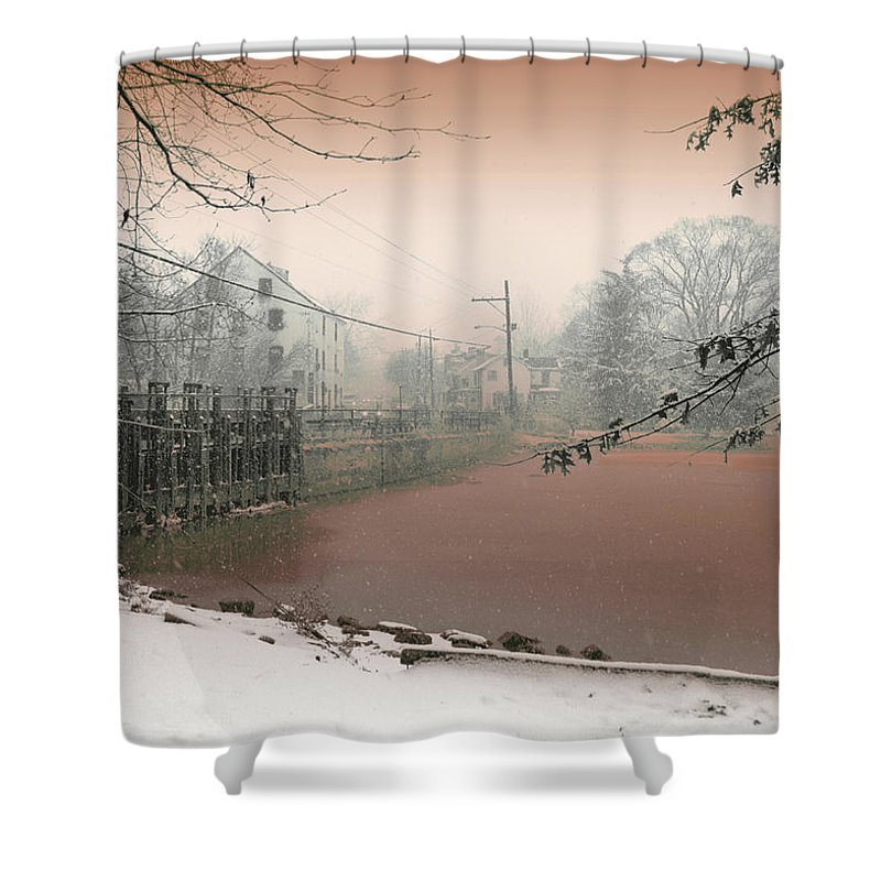 Allentown Shower Curtain featuring the mixed media Mill Pond Snow by Ericka O'Rourke