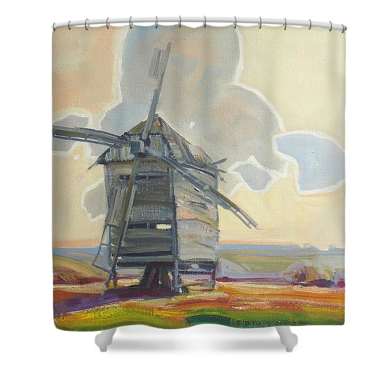 Oil Shower Curtain featuring the painting Mill by Sergey Ignatenko