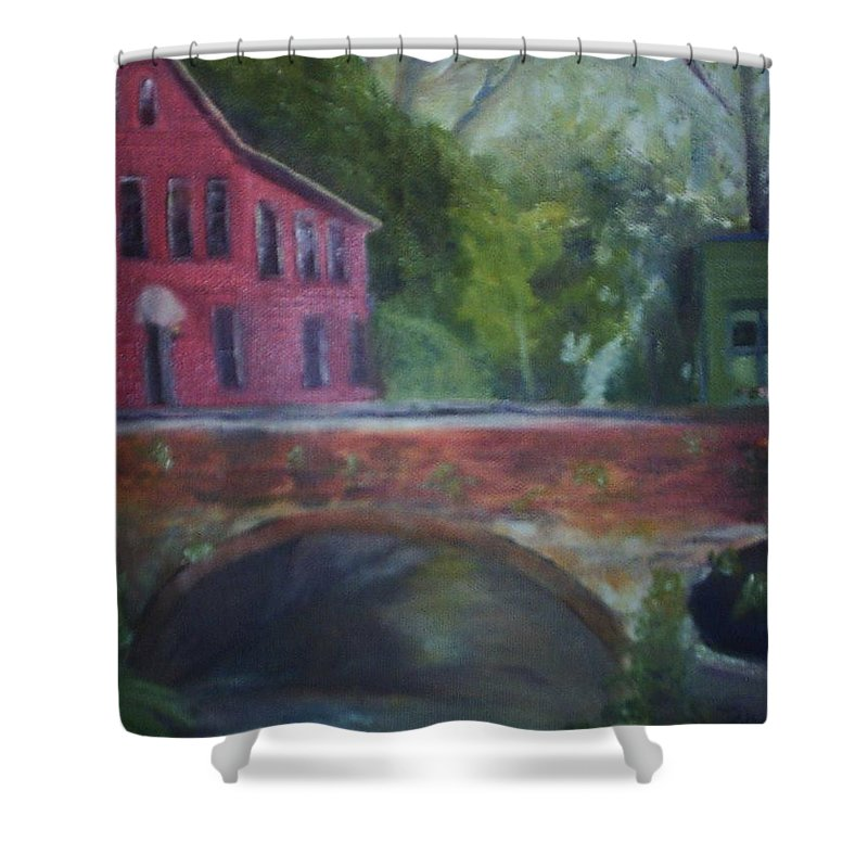 Mill Street Shower Curtain featuring the painting Mill Street Plein Aire by Sheila Mashaw