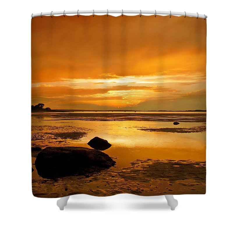 Mill Way Shower Curtain featuring the photograph Mill Way Beach Sunset by Charles Harden