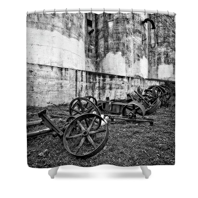Mill Shower Curtain featuring the photograph Mill Wheels by Alan Raasch
