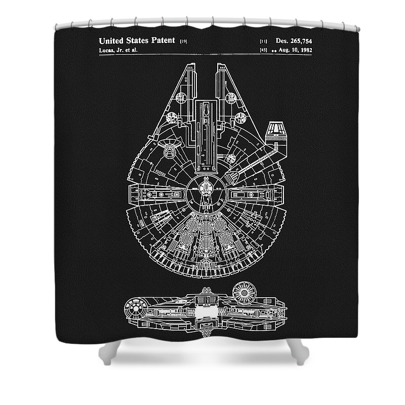 Millennium Falcon Patent Shower Curtain featuring the drawing Millennium Falcon by Dan Sproul