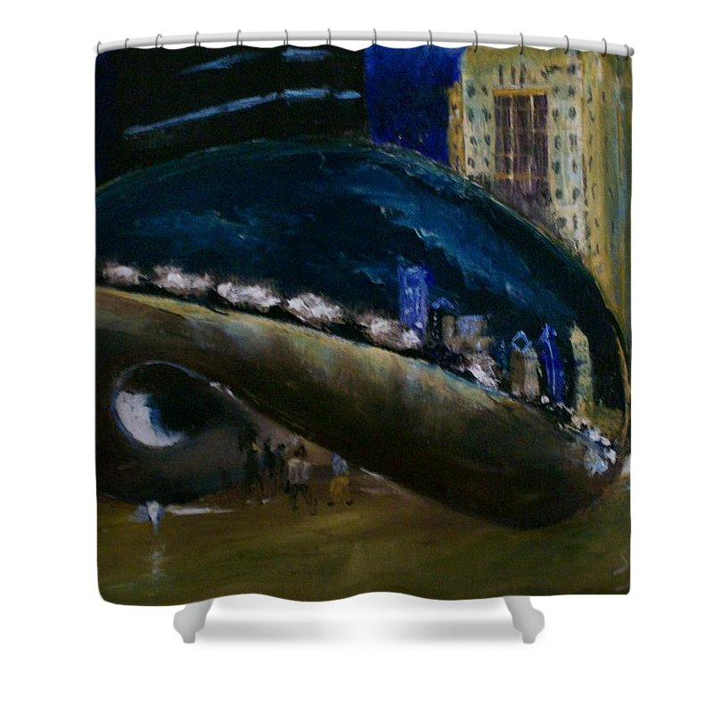 Cityscape Shower Curtain featuring the painting Millennium Park - Chicago by Stephen King