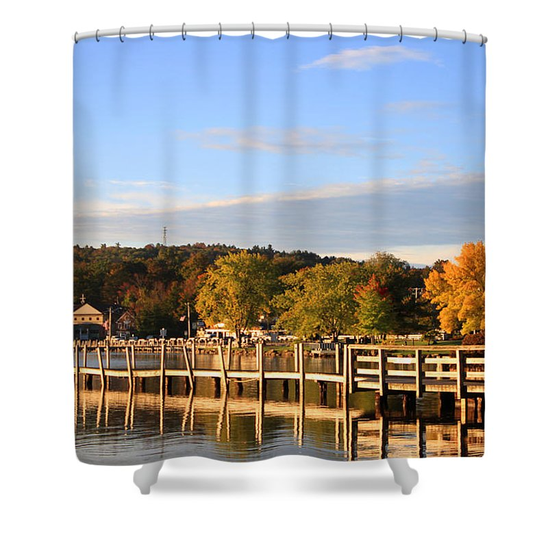Lake Winnipesaukee Shower Curtain featuring the photograph Mills Falls In October by Michael Mooney