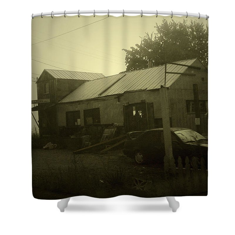 Milltown Shower Curtain featuring the photograph Milltown Merchantile by Tim Nyberg