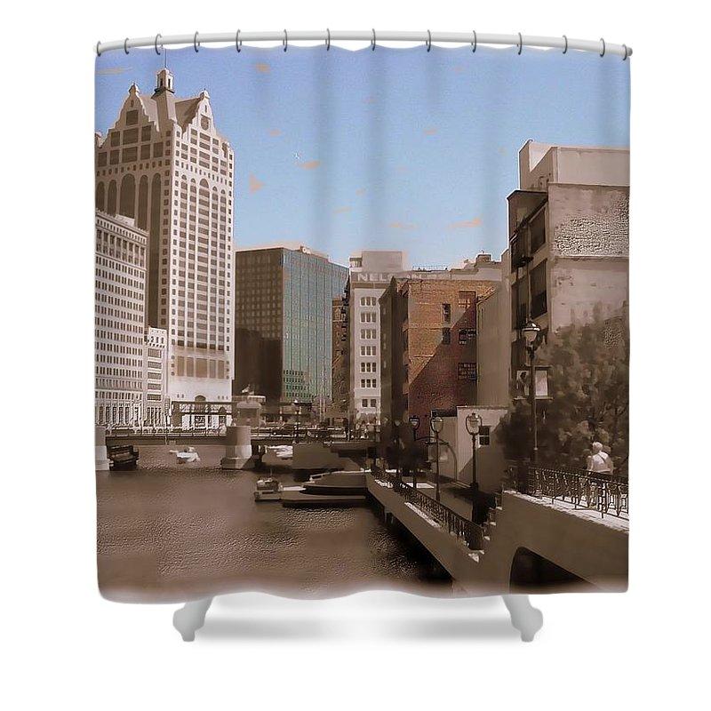River Shower Curtain featuring the digital art Milwaukee Riverwalk by Anita Burgermeister