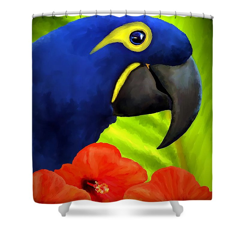 Hyacinth Macaw Shower Curtain featuring the painting Mimi by David Wagner