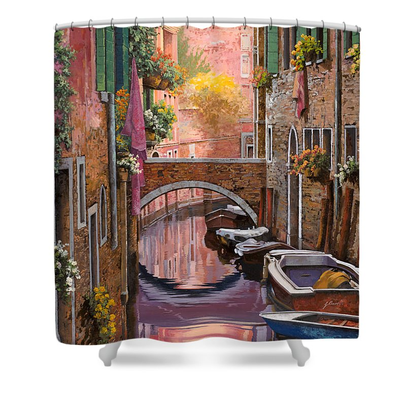 Venice Shower Curtain featuring the painting Mimosa Sui Canali by Guido Borelli