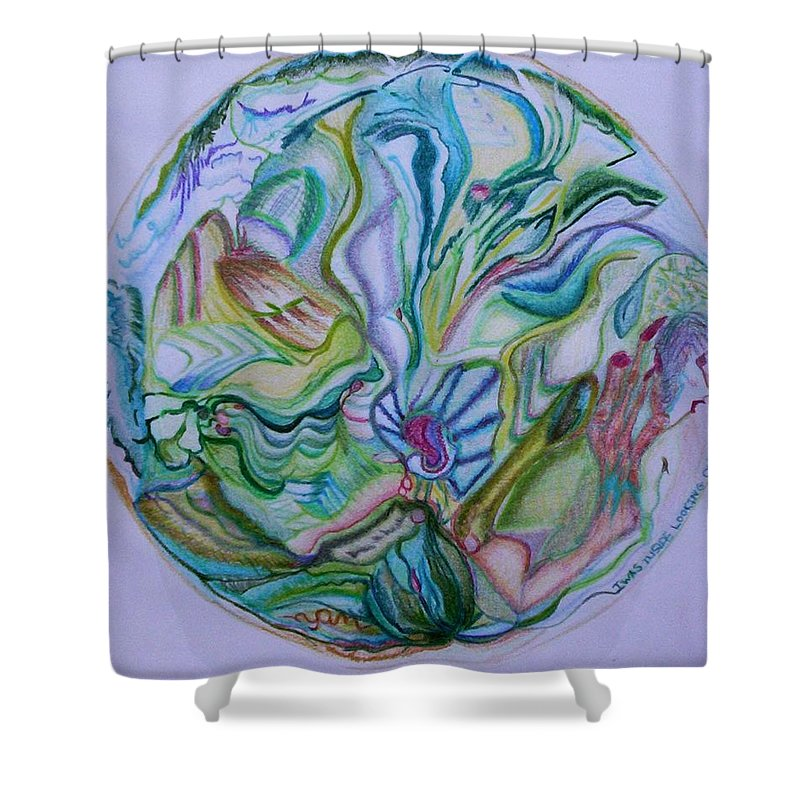 Abstract Shower Curtain featuring the drawing Mind Mandala by Suzanne Udell Levinger
