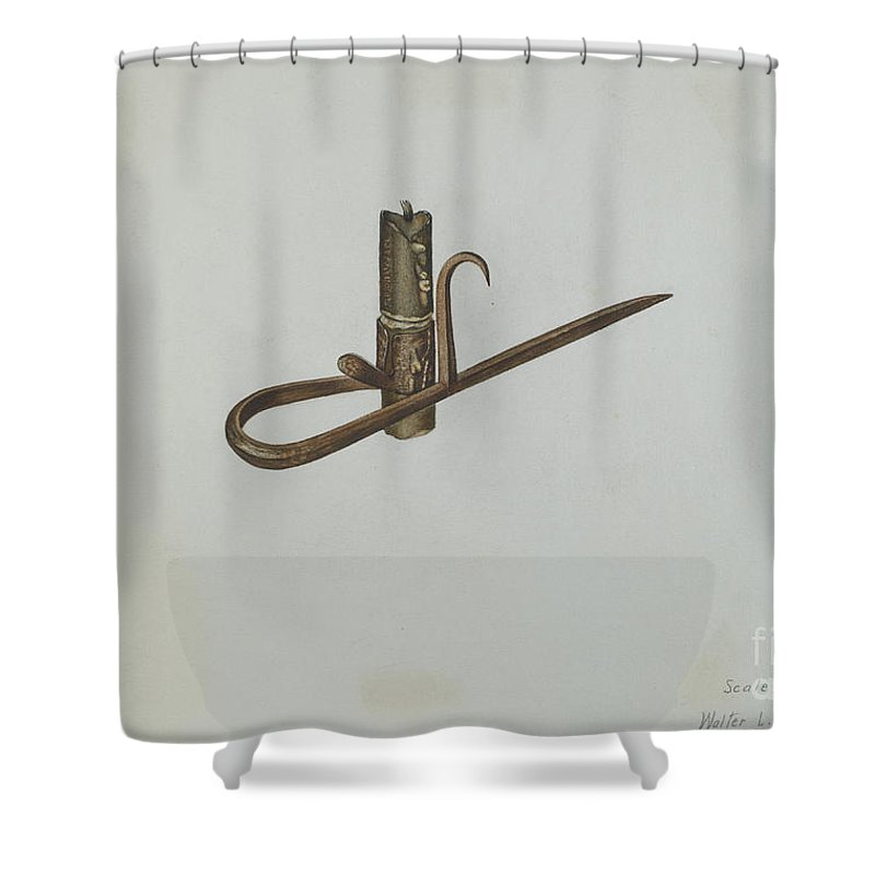 Shower Curtain featuring the drawing Miner's Candle Holder by Walter L. Webster