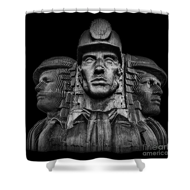 Bargoed Shower Curtain featuring the photograph Miners In The Dark by Steve Purnell