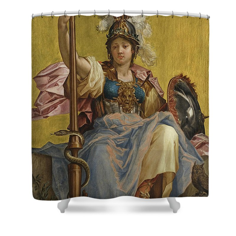 Minerva Shower Curtain featuring the painting Minerva by Johan Sylvius