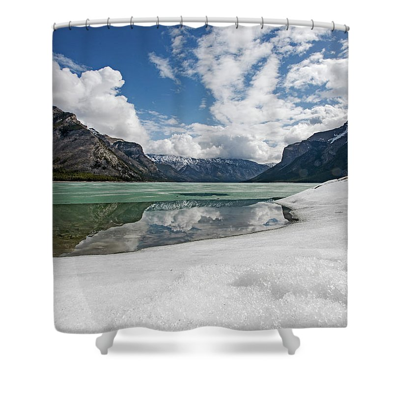 Canada Shower Curtain featuring the photograph Minewanka View by Eric Nelson