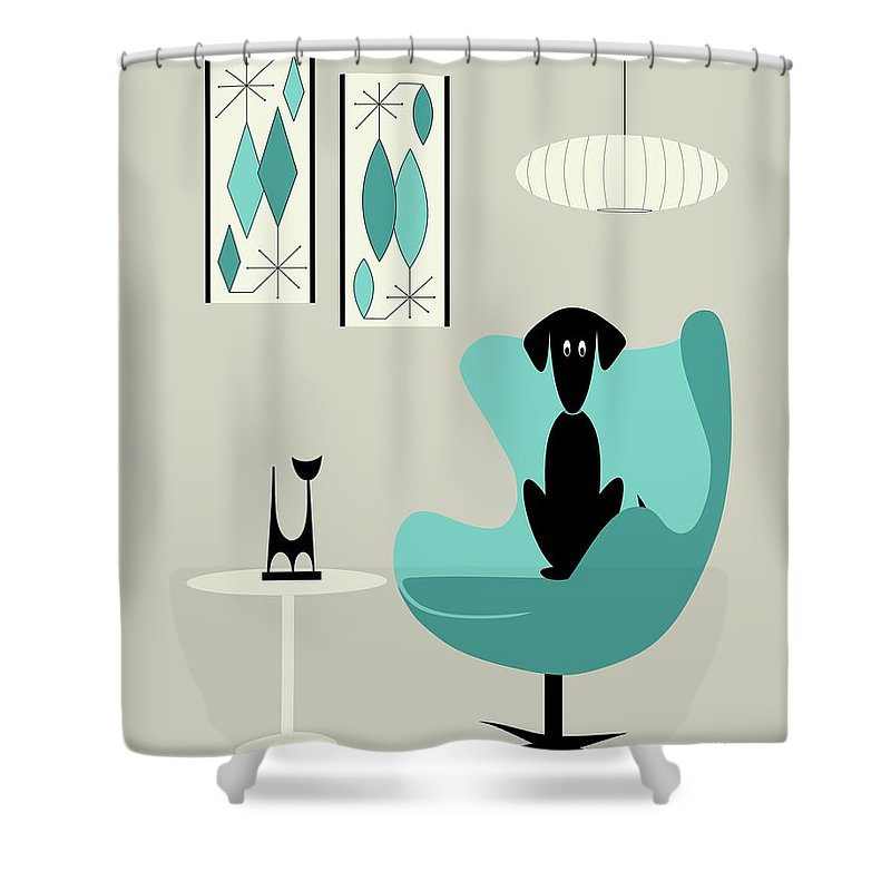 Teal Shower Curtain Featuring The Digital Art Mini Gravel On Gray With Black Dog By