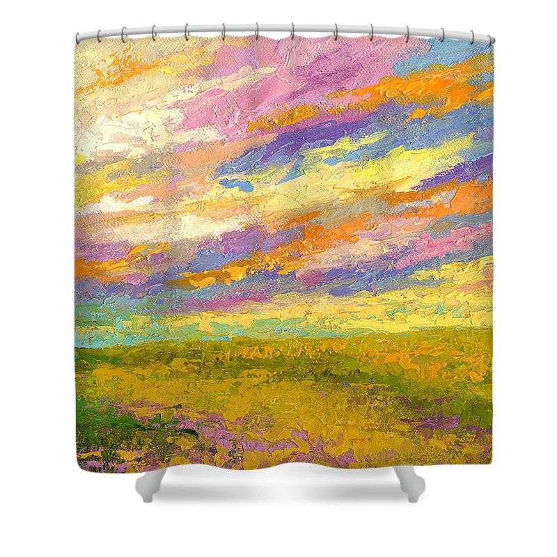 Landscape Shower Curtain featuring the painting Mini Landscape V by Marion Rose