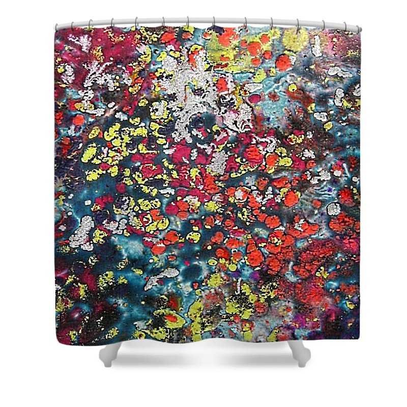 Mini Roses Shower Curtain featuring the painting Mini Roses by Dragica Micki Fortuna