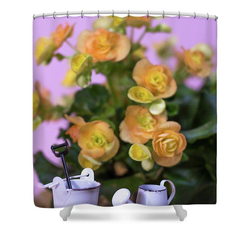 Background Shower Curtain featuring the photograph Miniature Gardening Kit With Orange Begonia Background by Eiko Tsuchiya