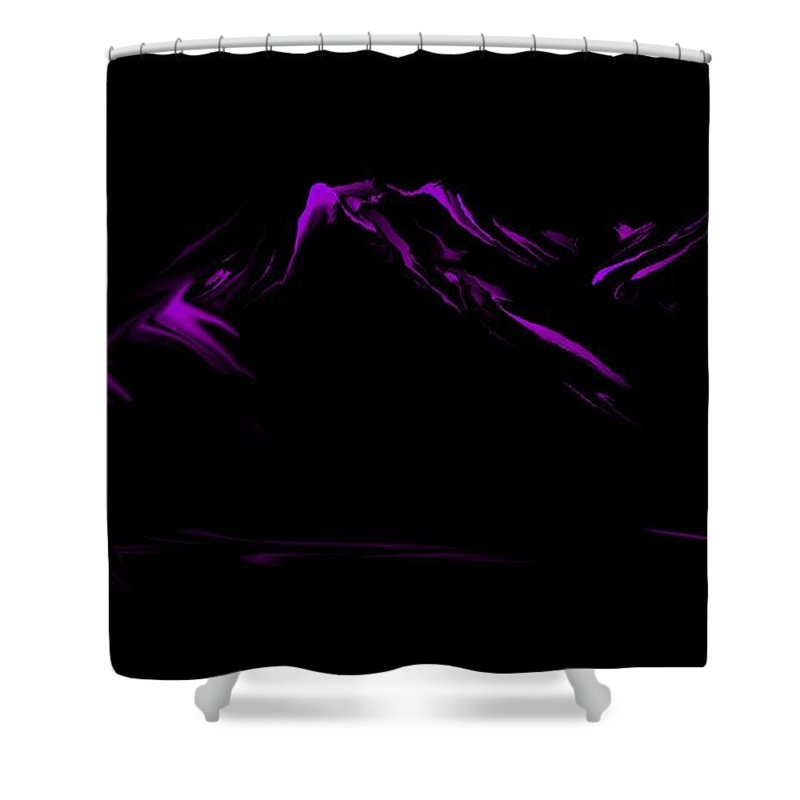 Digital Art Shower Curtain featuring the digital art Minimal Landscape Purple by David Lane