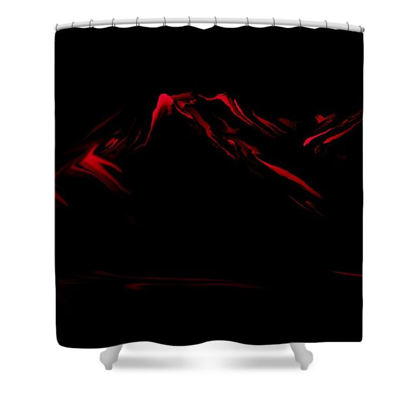 Digital Art Shower Curtain featuring the digital art Minimal Landscape Red by David Lane