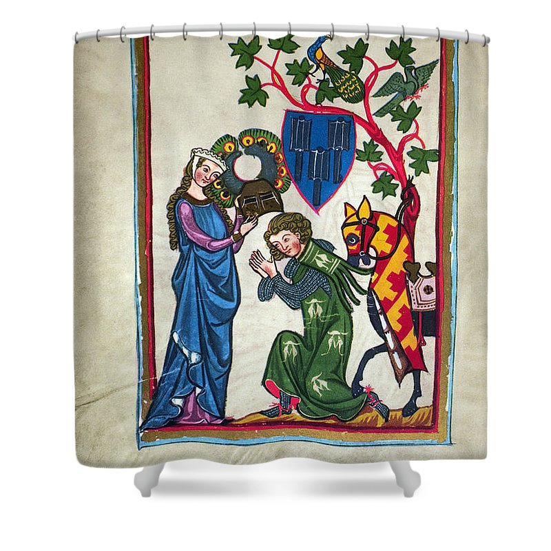 14th Century Shower Curtain featuring the photograph Minnesinger, 14th Century by Granger