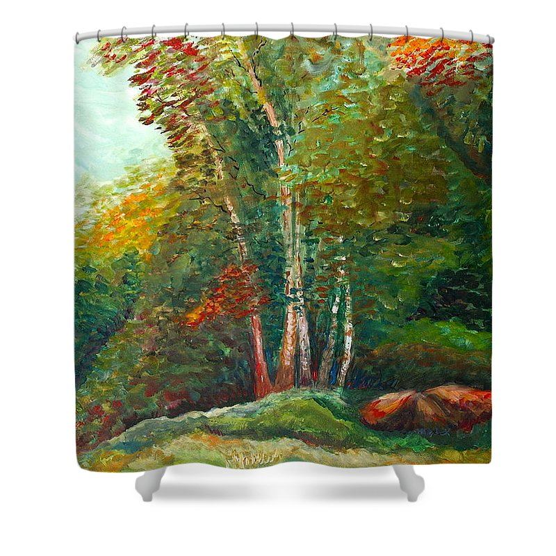 Landscape Shower Curtain featuring the painting Minnesota Quartet by Nadine Rippelmeyer