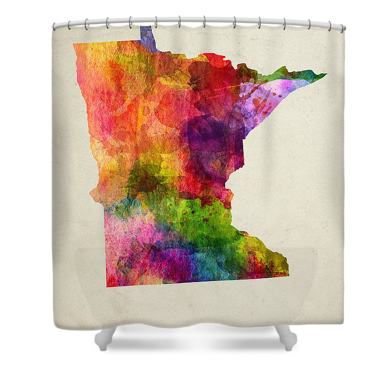 Minnesota Shower Curtain featuring the painting Minnesota State Map 02 by Aged Pixel