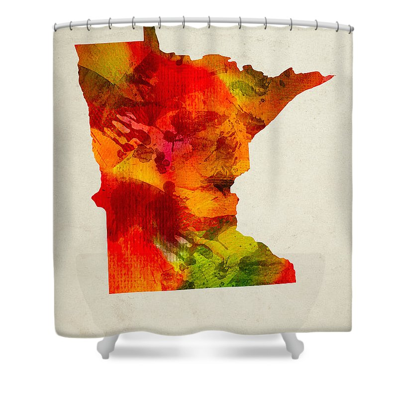 Minnesota Shower Curtain featuring the painting Minnesota State Map 04 by Aged Pixel