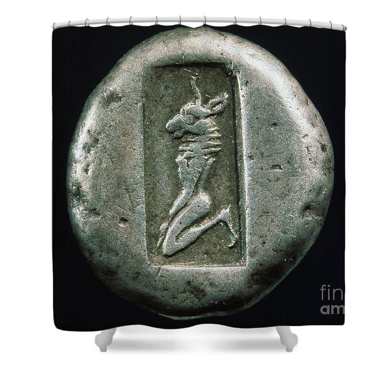 480 B.c. Shower Curtain featuring the photograph Minotaur On A Greek Coin by Granger