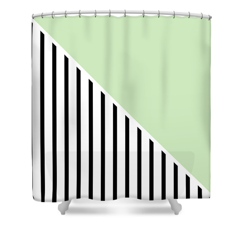 Mint Shower Curtain featuring the digital art Mint And Black Geometric by Linda Woods