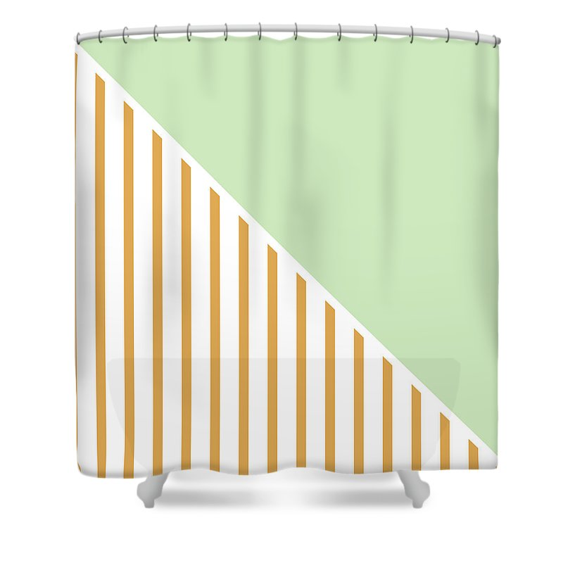 Mint Shower Curtain featuring the digital art Mint And Gold Geometric by Linda Woods
