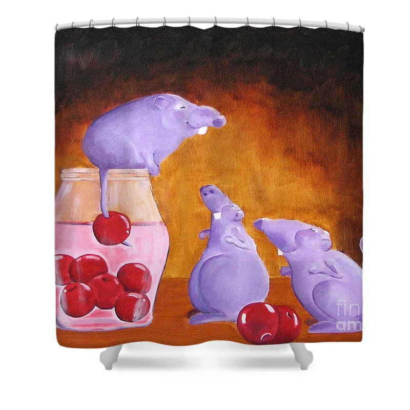 Mice Shower Curtain featuring the painting Mioummmmmmmmmm Cherriesssssssssss by Line Gagne