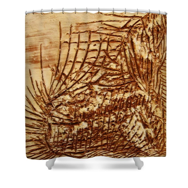 Jesus Shower Curtain featuring the ceramic art Mirabel - Tile by Gloria Ssali
