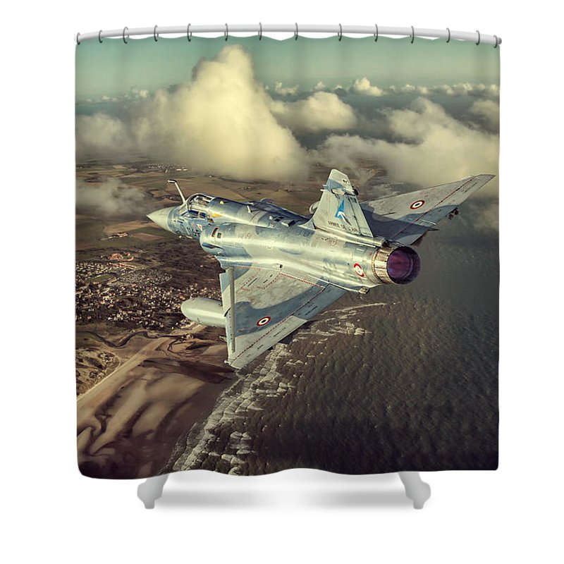 Mirage Shower Curtain featuring the digital art Mirage 2000 Heading Home by Peter Scheelen