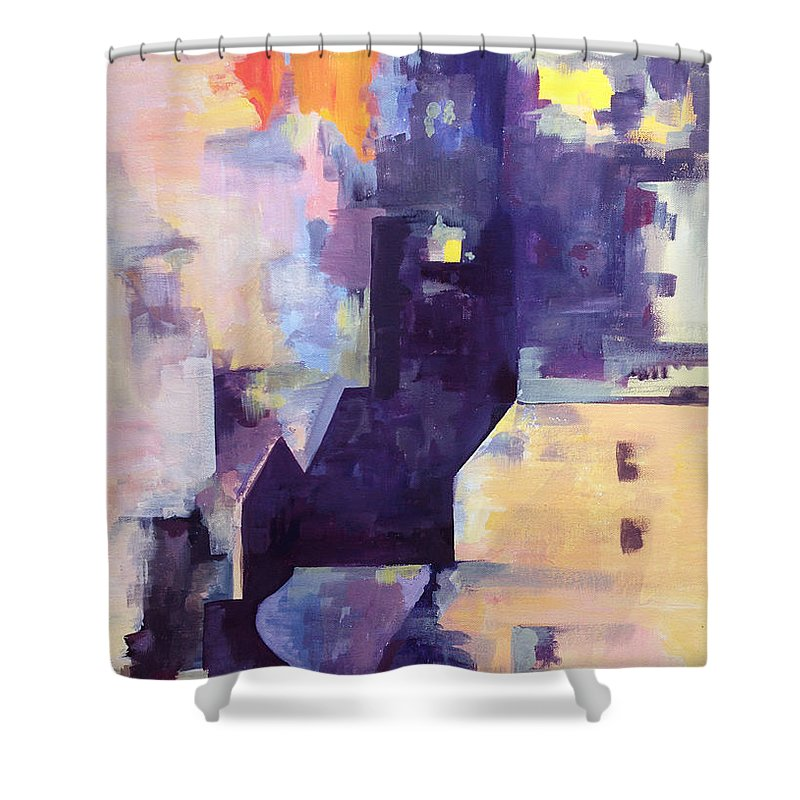 Modern Art Shower Curtain featuring the painting Mirage In The Concrete City by Eszter Benyo