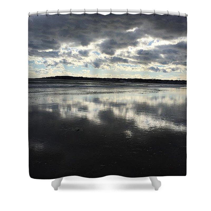 Sea Ocean Winter Sky Shower Curtain featuring the photograph Mirage by Pamela J Bennett