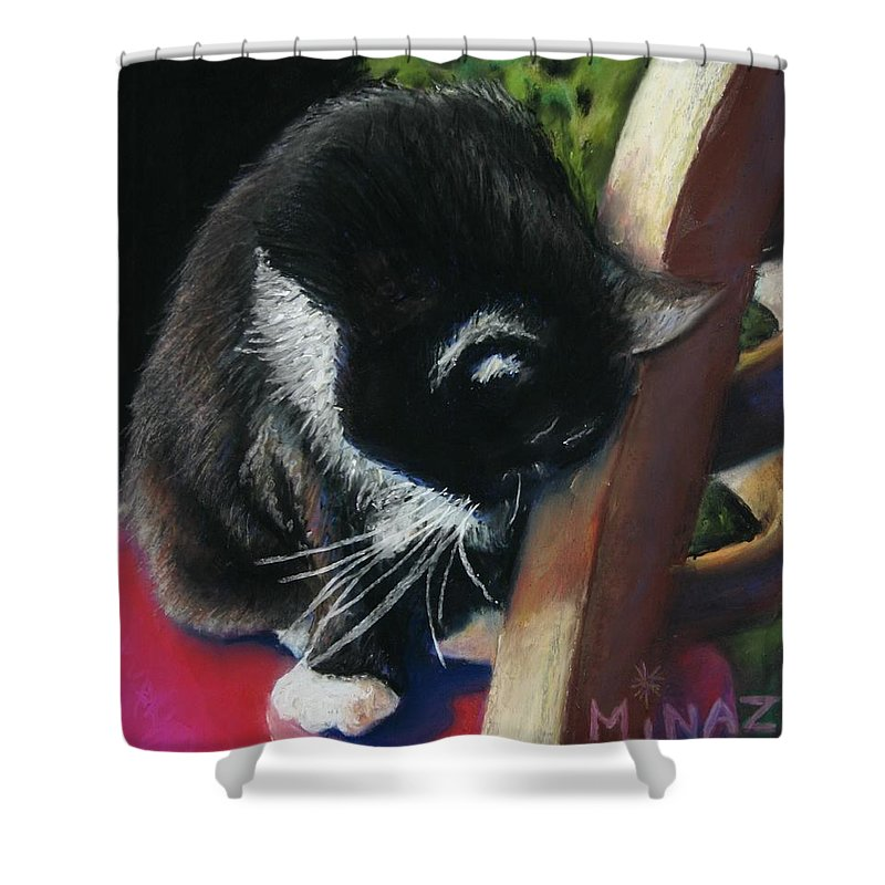 Cat Shower Curtain featuring the painting Kitty Chair by Minaz Jantz