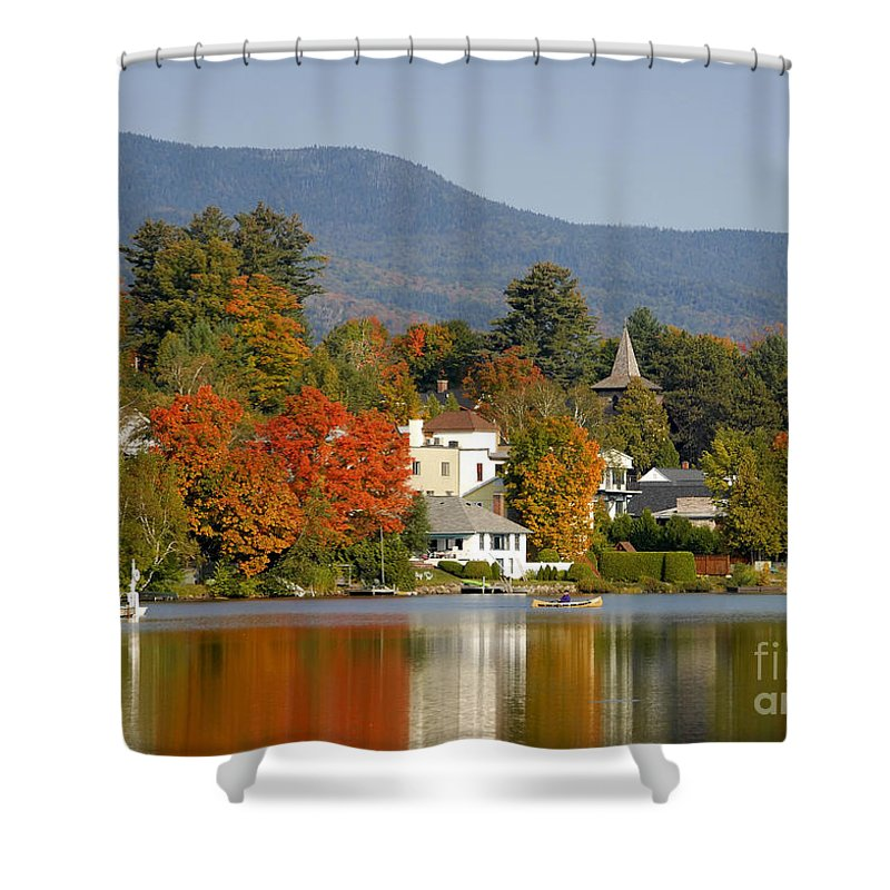 Adirondack Mountains Shower Curtain featuring the photograph Mirror Lake by David Lee Thompson