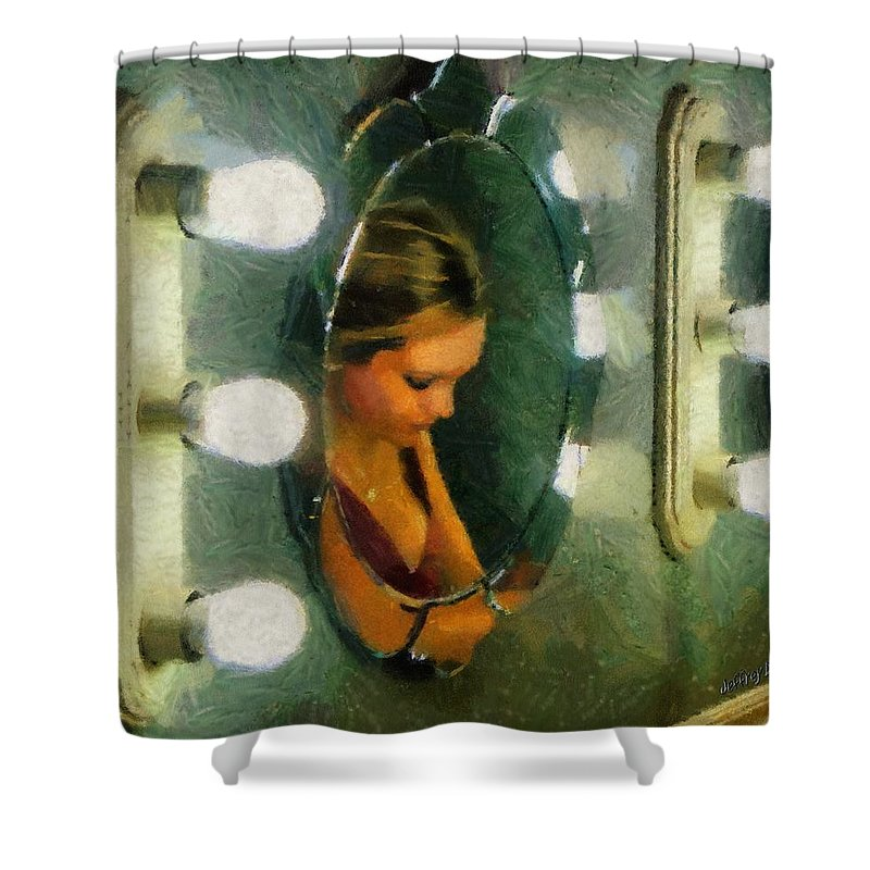 Bridesmaid Shower Curtain featuring the painting Mirror Mirror On The Wall by Jeffrey Kolker