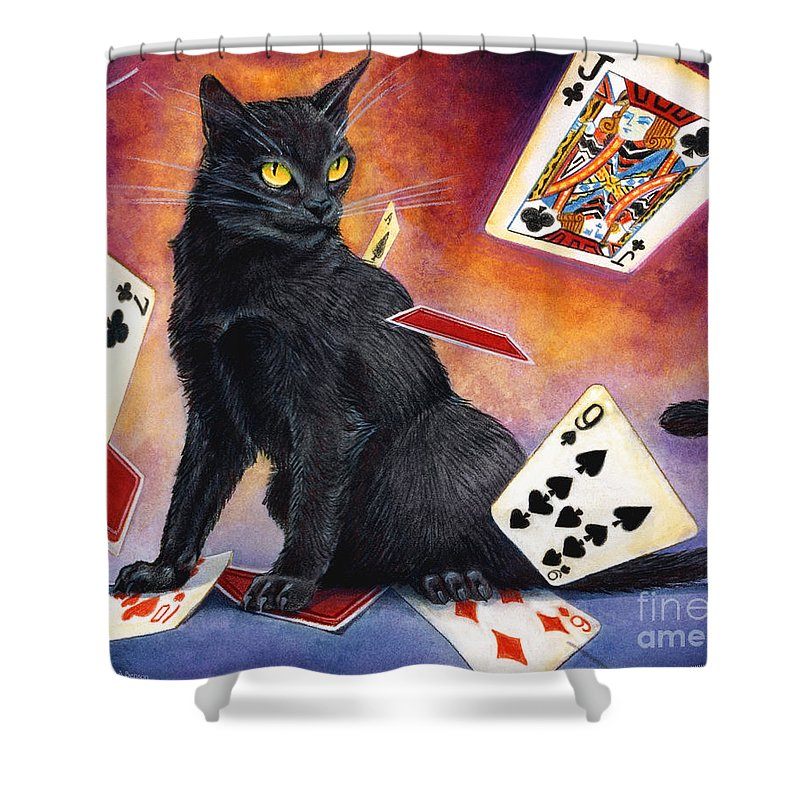 Cat Shower Curtain featuring the painting Mischief Kitten by Melissa A Benson