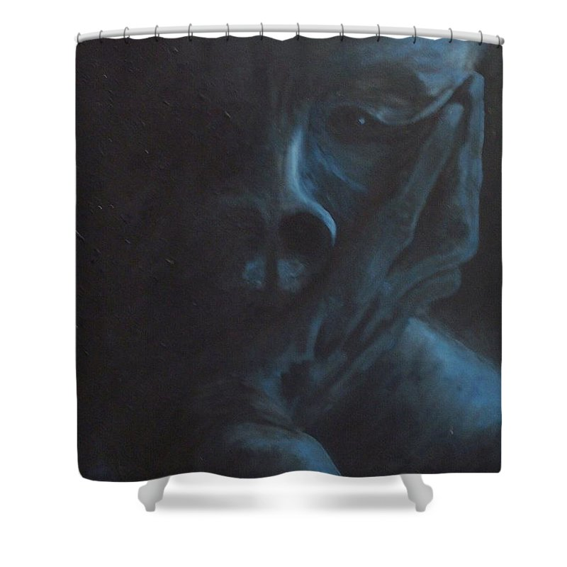 Sad Shower Curtain featuring the painting Misery by Gale Cochran-Smith
