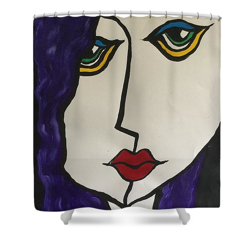 Pop Art Shower Curtain featuring the painting Miss Lonely. by Dave Woolley