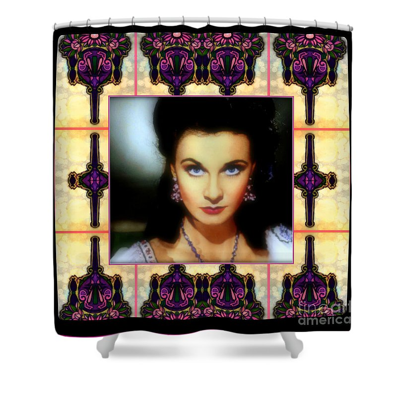 Miss Scarlet And Her Fans By Wbk Shower Curtain featuring the painting Miss Scarlet And Her Fans by Wbk