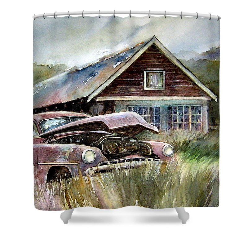 Car House Shower Curtain featuring the painting Miss Wilson's House by Ron Morrison