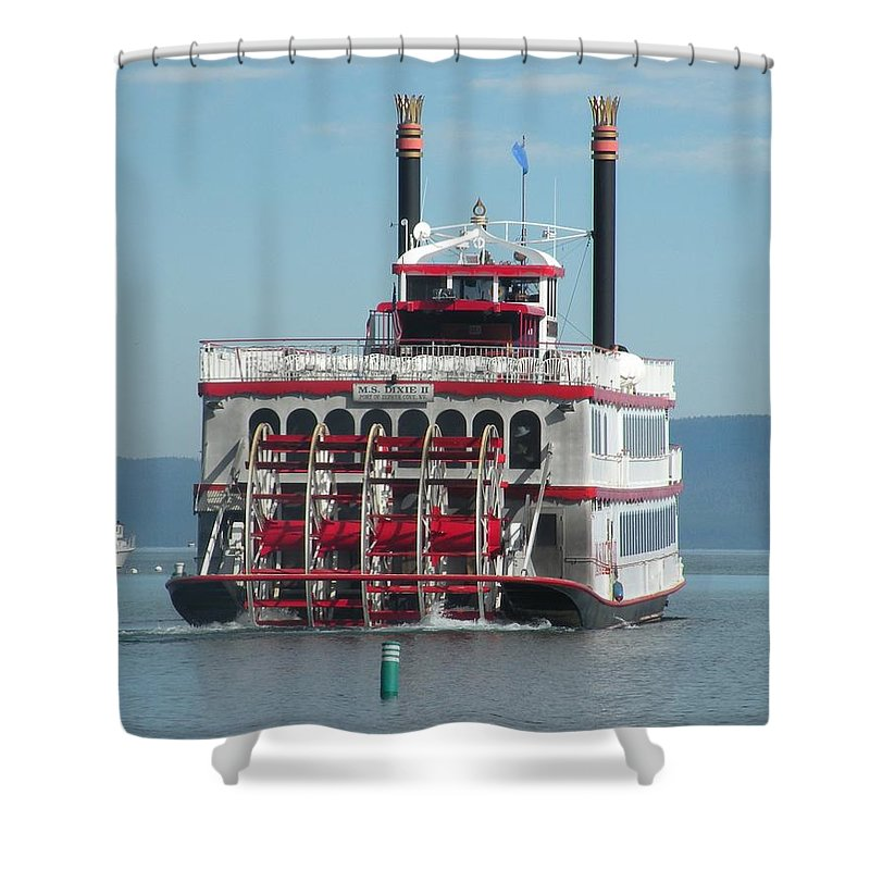 Paddle Wheel;lake Tahoe Shower Curtain featuring the photograph Missing The Boat by Peter Hennessey