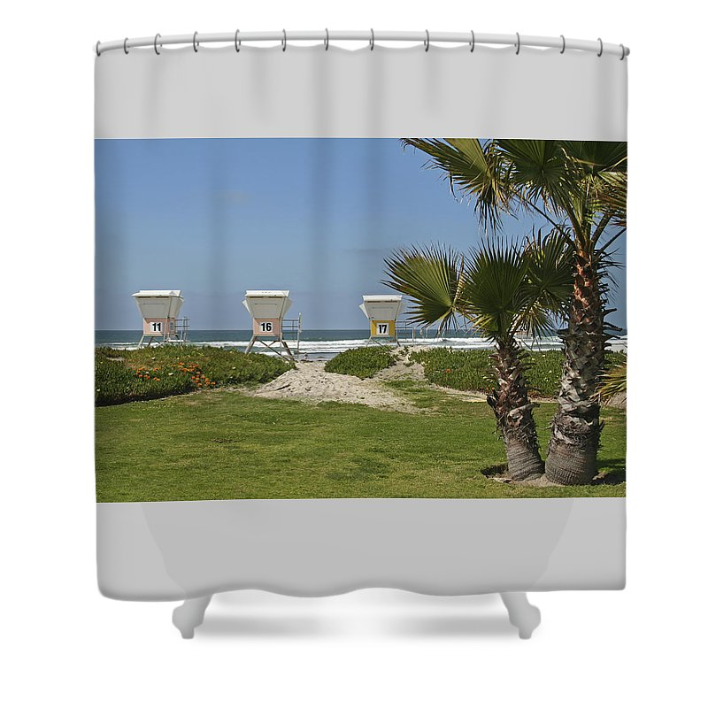Beach Shower Curtain featuring the photograph Mission Beach Shelters by Margie Wildblood