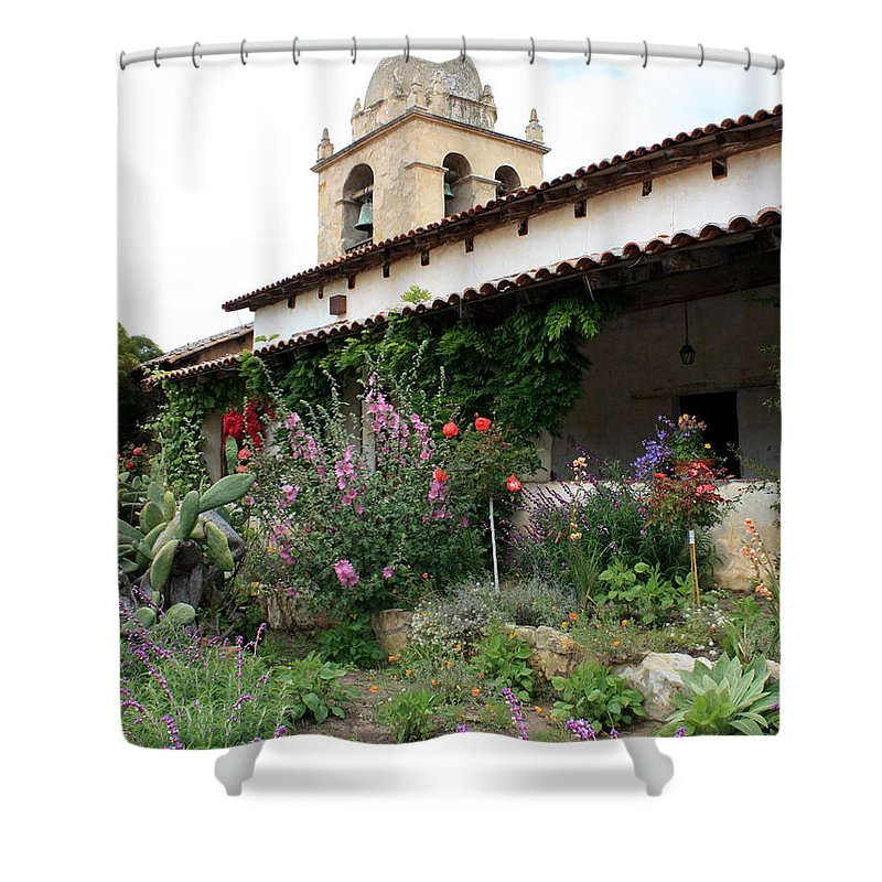 Mission Shower Curtain featuring the photograph Mission Bells And Garden by Carol Groenen
